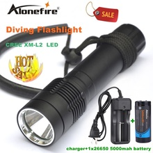 Alonefire DV21 Diving Flashlight Torch XM-L2 LED Underwater diver light Lamp +26650 rechargeable battery white light SKU: 2202