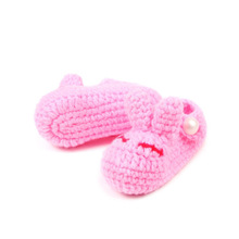 Cute Rabbit Baby Girl Shoes Handmade Crochet Warm Baby Booties Knit Chaussure Fille Toddler Boy Shoes 10 cm