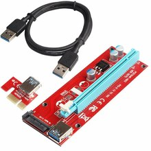 VENICO  60cm Red VER007S PCIE PCI Express 1X to 16x Riser Card USB3.0 DATA Cable 15Pin SATA Power Supply For BTC Mining