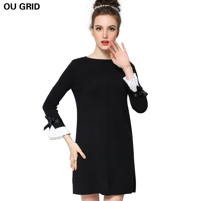 Knitted Sweater Dress 2017 New Arrival Bow Flare Sleeve Autumn Ladies Black Dress L-5XL Casual Plus Size Women Clothing VestidosÎäåæäà è àêñåññóàðû<br><br>