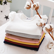 Toddler baby girl solid ruffles sleeve blouse autumn clothing cotton clothes for bebies girls blouses tops teen shirts enfant(China)