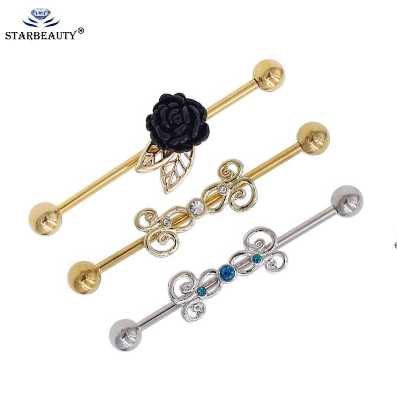 New Stainless Steel Triple Flower Gem Scaffold Industrial Piercing Bar Stud 14g