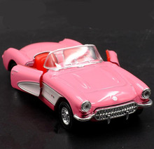 1:36 high imitation alloy model car,1957 Corvette pull back metal car toy,metal diecast 2 open door static model, free shipping