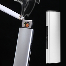 2017 New Strip USB Lighter Rechargeable Electronic Lighter Metal Cigarette Turbo Lighter Flameless Double Side Cigar Plasma(China)