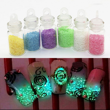 Nail Art Nightlight Decoration Set Mixed 6 Colors Luminous Super Bright Fluorescent Powder Sand Glow For DIY Party Manicure Tool