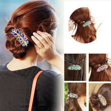 Beauty Stylish Hair Clip Leaf Crystal Rhinestone Hairpin Headband Accessorie Women Fashion Valentine's Day Gift(China)