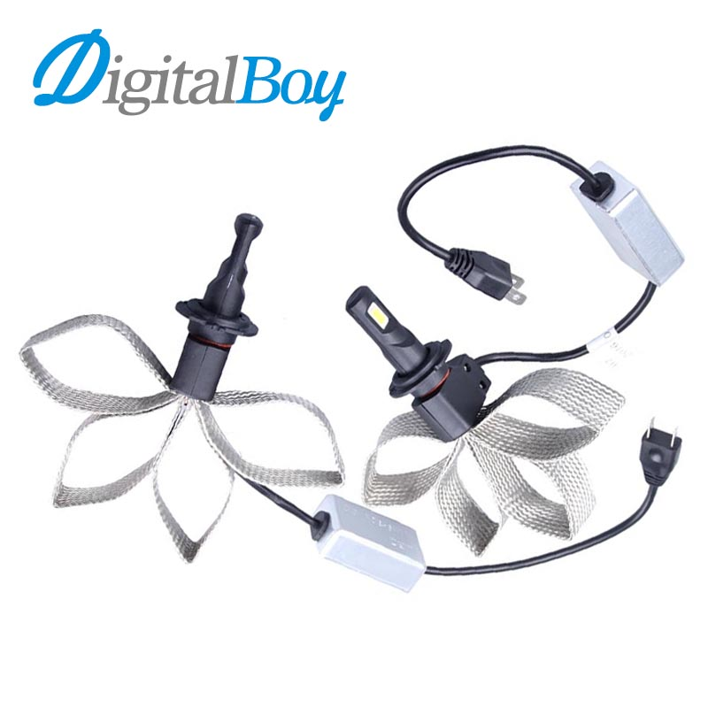 Digitalboy LED Car Headlights H7 Car Headlamp Bulbs Super Bright Fog Light H7 Conversion Lamp 60W 6000k Copper Braided Cooli<br>