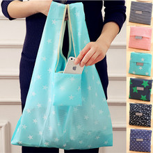 35*55cm Eco Storage Handbag Oxford Folding Shopping Bags Dot Star Large Resuable Shopping Grocery Bag for Supermarket 6 Color(China)