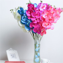 orchid artificial flowers DIY Artificial Butterfly Orchid Silk Fake Flowers Bouquet Phalaenopsis Wedding Home Decoration