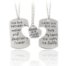"3pcs""daddy's girl mama's world"" Carving Family Love Pendant Necklaces Keychain Father Mother Daughter Special Gift Jewelry"