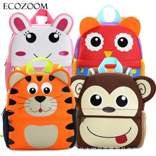 Children 3D Cute Animal Design Backpack Toddler Kid Neoprene School Bags Kindergarten Cartoon Comfortable Bag Giraffe Monkey Owl