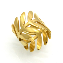 Women's Rings Delicate Leaf Branch Gold Color Stainless Steel Rings For Women Costume Jewelry Rings Women Jewelry (RI102528)(China)