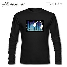 Party fashion Tshirt Men's Long Sleeve EL T-Shirts Black cotton Brand LED EL Sound activated TShirt Size:S~3XL Tops Teee(China)