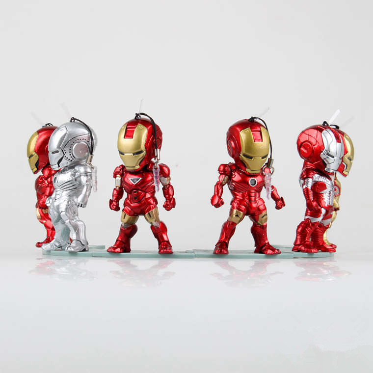 6pcs/Set Iron Man 3 Marvel The Avengers MK42 1 2 3 War Mechine Egg Attack Iron Man PVC LED Light &amp; Action Figure Toy KB0140<br>
