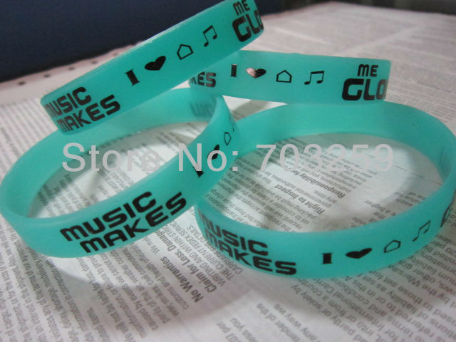500pcs glow in dark silicone bracelet low price EG-WBG101 custom design fluorescent rubber armband luminous wristband for events(China (Mainland))