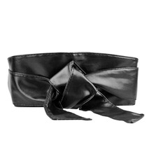 Hot Lady Waist band Bowknot Belt Bind Tie Wide Belt 10 Colors Soft Faux Leather Waistband Vintage Waist Belt For Women