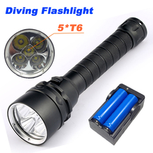 10000 Lumens Diving Flashlight Torch 5*T6 Diving LED Flashlight  200M Underwater Waterproof Light Tactical Flashlight Lantern