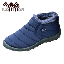 LUONTNOR Waterproof Winter Men Running Shoes Solid Color Women Snow Boots Cotton Inside Antiskid Bottom Keep Warm Sneakers Boots(China)