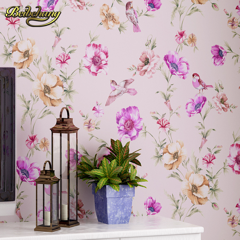 beibehang papel de parede 3d flooring American Country Flower Wallpaper For living room Bedroom wall papers home decor printer<br>