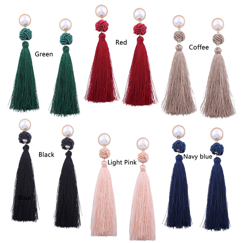 Trendry Earrings for Women Vintage Bohemian Fashion Weave Tassel Earrings Long Drop Earrings Jewelry for gift Brincos J05#N (5)