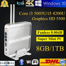 Mini Fanless PC Thin Client Home Computer 8GB DDR3 1TB HDD Intel Core i5 4200U i3 5005U Haswell Broadwell Design 4K HD Kodi