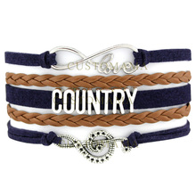 (10 PCS/Lot) Infinity Love Country Music Soul Hat Boots Charm Bracelets For Women Country Girl Navy Brown Jewelry Wrap Bracelets