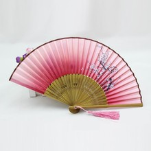 Vintage Chinese Japanese Hand Held Fan Silk Bamboo Folding Pocket Fan Party Favor