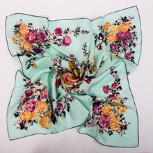 Floral Print 100% Silk Twill Scarf Shawl Wraps Shawl for Women Square Silk Scarves Fashion Accessory Size 90x90cm