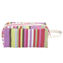 Nylon Patchwork Weave Mesh Cosmetic Bags With Quality Zipper Single Layer Travel Makeup Bag