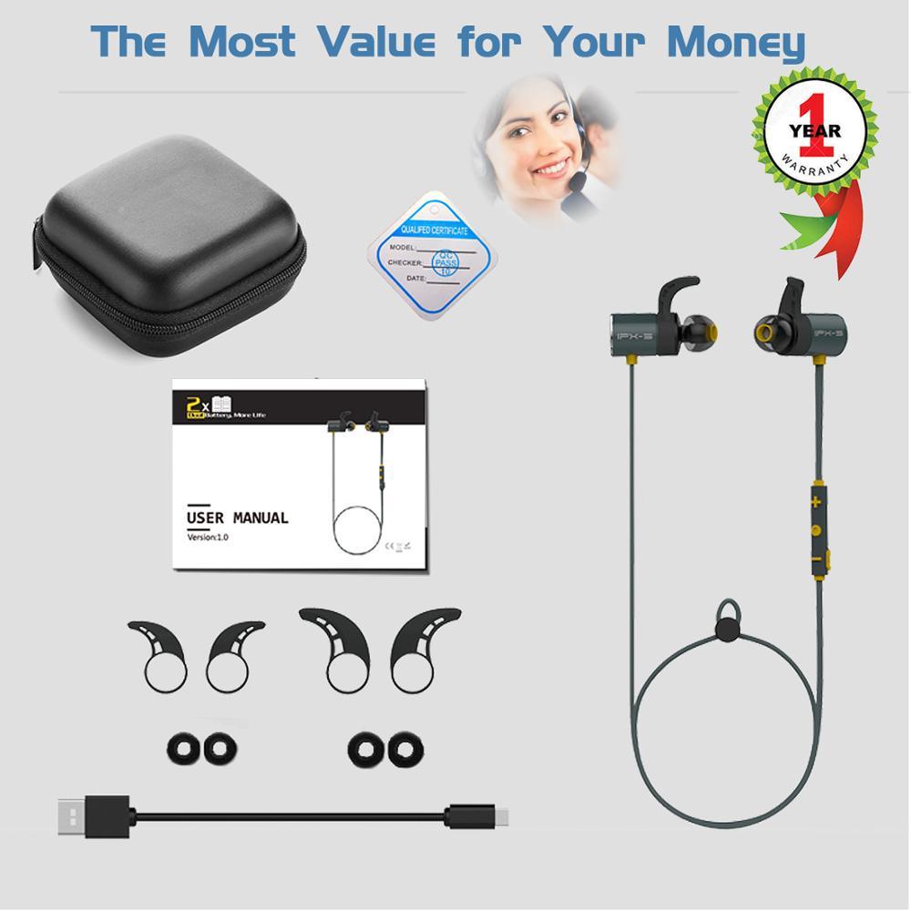 PLEXTONE BX343 double battery V4.1 magnetic suction bluetooth earphone sport waterproof endurance metal music earphones