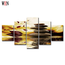 Quiet Scene Modern Fallen Leaves Print Canvas Paintings 5Pcs Wall Christmas Canvas Pictures For Home Decor Cuadros Decoracion
