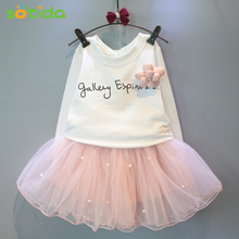 Girls Dresses 2016 New lovely girls white tee shirt and pink dress with rhinestone clothes set kids autmn children clothing set
