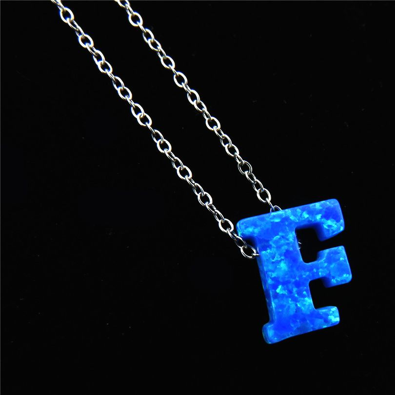 21648 Girl Blue Fire Opal Letter F Pendants Alfabet Initial Necklace Silver  Tone Stainless Steel Choker