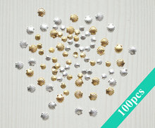 100PCS/Pack 3MM&5M 3D Metal Sea Shell Beads Gold Silver Nail Art Tools Rhinestone Stud Spike Nail Tips Stickers Accessories(China)