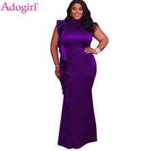 Adogirl 2018 New Plus Size Women Evening Gown Elegant High Neck Sleeveless Ruffle Bodycon Maxi Party Dresses Robe Long Vestidos(China)