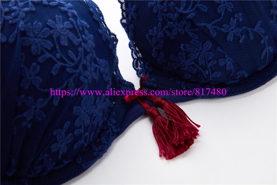 New Sexy Lace bra brief set gathered underwear Woman push up bra set,brassiere lingerie set summer thin bra sets 4