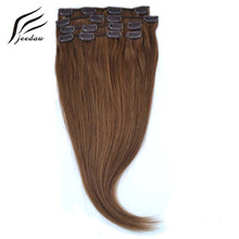 jeedou Straight Synthetic Hair Clip In Hair Extensions Straight 22Inch 7Pcs 80g Real Natural Hair 28Colors Women's Hairpieces