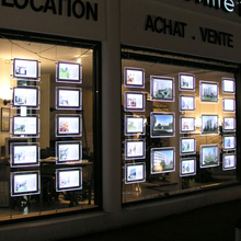 10PCS Real Estate Agency cable wire acrylic window led illuminated displays A3 double sided landscape(China)