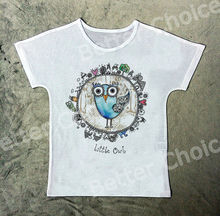 Track Ship+Vintage Retro T-shirt Top Tee Cartoon Little Blue Owl Bird on Round Earth Sweet World 1121