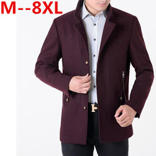 9XL 8XL 7XL 6XL new arrival men's wool coat medium-long male thickening cashmere larrge outerwear winter trench free delivery