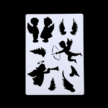 2Pcs DIY Craft Cupid Angel Layering Stencils For Walls Painting Scrapbooking Stamps Album Embossing Paper Cards