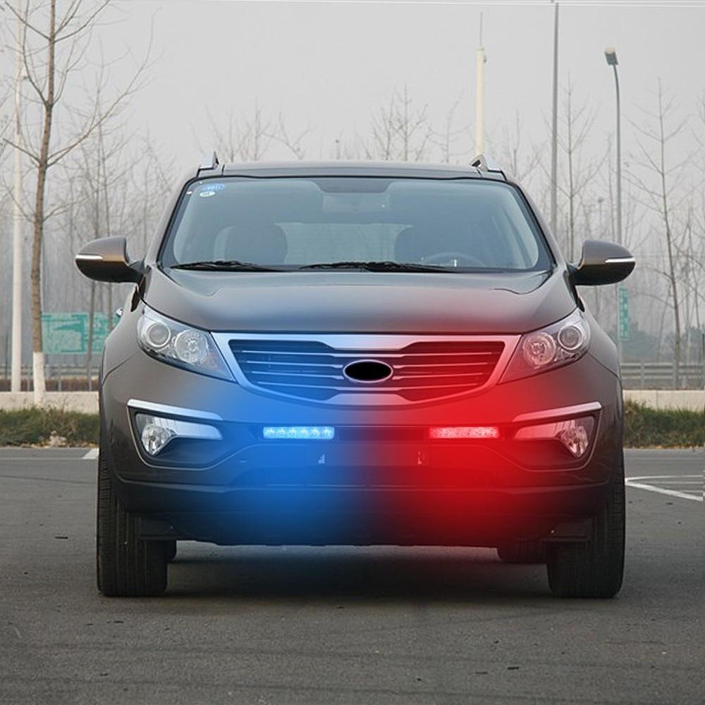 1 Kit  12V  12 LED  Warning Emergency Beacon Strobe Flash Light Bar Car Truck Red / Blue  Flashing Color<br><br>Aliexpress