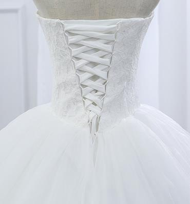 VENSANAC 2017 New Lace Strapless Sleeveless White Satin Court Train Bridal Wedding Dress Wedding Ball Gown 30437 4