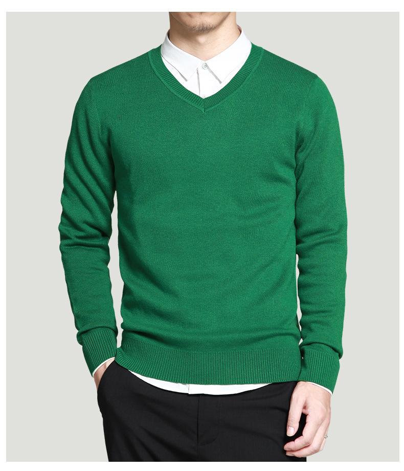 Merino Wool Sweater Pullovers Men V Neck Long Sweater Jumpers Luxury Winter Warm Mercerizing Fleece Male knitwear Autumn Spring-05