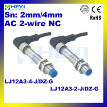 LJ12A3-2-J/DZ-G LJ12A3-4-J/DZ-G NC metal sensor with 1.5m air plug cable 90-250V 2-wire inductive proximity switch(China)