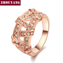 ZHOUYANG ZYR285 Weave Silver Color Ring Jewelry Nickel Free en Rhinestone Austrian Crystal Element(China)