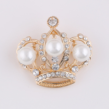 Fashion gold Crown Brooch Flower cheap Brooches For Women Wedding Bouquets Collar Clip Scarf Buckle Hijab Pins 15012906