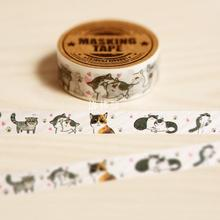 1.5CM Wide Cute Mewo Cat Animal Hand-Drawn Washi Tape DIY Scrapbooking Sticker Label Masking Tape School Office Supply(China)