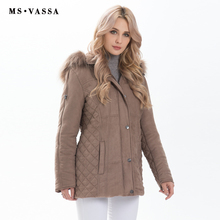 MS VASSA Ladeis Parkas 2017 Autumn Winter Jacket women New fashion coats detachable hood with fake fur plus size outer wear 5XL(China)