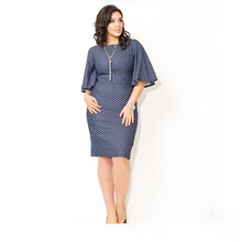 High Quality Casual Wave point Round Neck Flare Sleeve Women Dress 2017 New Blue Large Size L-6XL Summer Dresses Plus Size